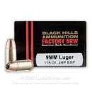 Premium 9mm Ammo For Sale - 115 Grain EXP JHP Ammunition in Stock by Black Hills - 20 Rounds