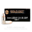 Bulk 9mm Luger Ammo For Sale - 124 Grain +P JHP Ammunition in Stock by Speer Gold Dot - 1000 Rounds