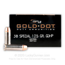 Premium 38 Special Ammo For Sale - 125 Grain HP Ammunition in Stock by Speer Gold Dot - 50 Rounds