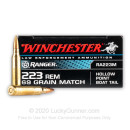 Cheap Match Grade 223 Rem LE Ammo For Sale - 69 gr HPBT Ammunition In Stock by Winchester Ranger - 20 Rounds