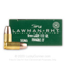 Premium 9mm Ammo For Sale - 100 Grain RHT Frangible Ammunition in Stock by Speer Lawman - 50 Rounds