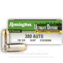 Premium 380 Auto Defense Ammo In Stock - 102 gr JHP - 380 ACP Ammunition by Remington Ultimate Defense For Sale - 20 Rounds