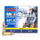 Bulk 22 LR Ammo For Sale - 36 Grain CPHP Ammunition in Stock by CCI Mini-Mag MeatEater - 300 Rounds
