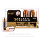 Bulk 9mm Self-Defense JHP Ammo For Sale - 150 Grain HST JHP Ammunition in Stock by Federal Premium - 200 Rounds