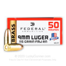 9mm Ammo For Sale - 115 gr FMJ  - Federal Champion Ammunition For Sale