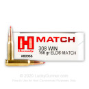 Premium 308 Ammo For Sale - 168 Grain ELD Match Ammunition in Stock by Hornady Match - 20 Rounds