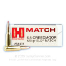 Premium 6.5 Creedmoor Ammo For Sale - 120 Grain ELD Match Ammunition in Stock by Hornady Match - 20 Rounds