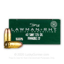 Premium 40 S&W Ammo For Sale - 125 Grain RHT Frangible Ammunition in Stock by Speer Lawman - 50 Rounds