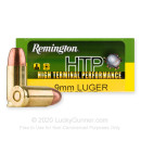Cheap 9mm Ammo For Sale - 115 Grain JHP Ammunition in Stock by Remington HTP - 20 Rounds