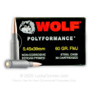 Cheap 5.45x39mm Ammo For Sale - 60 Grain FMJ Ammunition in Stock by Wolf Polyformance - 30 Rounds