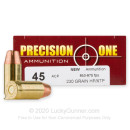 Premium 45 ACP Ammo For Sale - 230 Grain XTP JHP Ammunition in Stock by Precision One - 50 Rounds