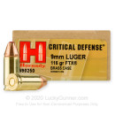 9mm Defense Ammo For Sale - 115 gr JHP FTX Hornady Ammunition In Stock - 25 Rounds