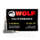 Cheap 5.45x39 Ammo For Sale - 55 Grain HP Ammunition in Stock by Wolf Polyformance - 30 Rounds