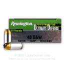 Premium 40 S&W Ammo For Sale - 180 gr JHP Remington Ultimate Defense 40 cal Ammunition In Stock - 20 Rounds