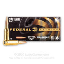 Premium 224 Valkyrie Ammo For Sale - 80.5 Grain Gold Medal Berger Ammunition in Stock by Federal - 20 Rounds