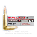 Premium 243 Win VarmintX Ammo For Sale - 58 grain Polymer Tipped Ammunition In Stock by Winchester - 40 Rounds
