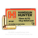 Premium 10mm Auto Ammo For Sale - 135 Grain MonoFlex Ammunition in Stock by Hornady Handgun Hunter - 20 Rounds