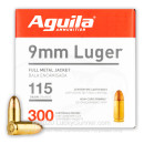 Cheap 9mm Ammo For Sale - 115 Grain FMJ Ammunition in Stock by Aguila - 300 Rounds