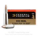 Premium 222 Rem Ammo For Sale - 43 Grain Speer TNT Green Ammunition in Stock by Federal V-Shok - 20 Rounds