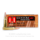 Cheap 308 Winchester Ammo For Sale - 125 gr SST - Hornady Custom Lite Ammo Online - 20 Rounds