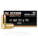 40 cal Ammo For Sale  - 180 gr FMJ Blazer Brass 40 S&W Ammunition - 1000 Rounds