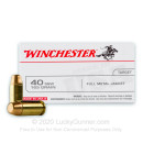 40 S&W Ammo For Sale - 165 gr FMJ - Winchester USA 40 cal Ammunition In Stock - 500 Rounds