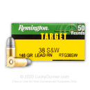 Cheap 38 S&W Ammo For Sale - 146 gr Lead Round Nose 38 Smith and Wesson Ammunition In Stock by Remington Target - 50 Rounds
