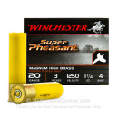 """Bulk 20 Gauge Ammo For Sale - 3"""" 1-1/4 oz. #4 Shot Ammunition in Stock by Winchester Super Pheasant - 250 Rounds"""