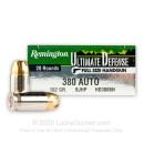 Premium 380 Auto Ammo For Sale - 102 Grain BJHP Ammunition in Stock by Remington Ultimate Defense - 20 Rounds