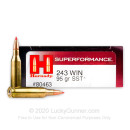 243 Win Ammo In Stock  - 95 gr Hornady Superformance SST Polymer Tip Ammunition For Sale Online - 20 Rounds