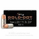Bulk 9mm Luger Ammo For Sale - 115 gr JHP Speer Gold Dot Ammunition For Sale - 1000 Rounds