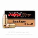 Bulk 9mm Defense Ammo For Sale - 115 gr JHP- Reloadable PMC Ammunition Online - 1000 Rounds