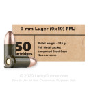 Cheap 9mm Ammo For Sale - 115 Grain FMJ Ammunition in Stock by Barnaul - 20 Rounds