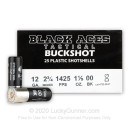 "Bulk 12 Gauge Ammo For Sale - 2-3/4"" 1-1/5oz. 00 Buckshot Ammunition in Stock by Black Aces Tactical - 250 Rounds"