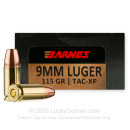 Premium 9mm Ammo For Sale - 115 Grain XPB Ammunition in Stock by Barnes VOR-TX - 20 Rounds
