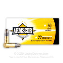 22 LR Ammo For Sale - 40 gr LS - Lead Solid Armscor Ammunition - 500 Rounds