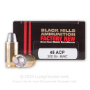 Premium 45 ACP Ammo For Sale - 200 Grain SWC Ammunition in Stock by Black Hills - 20 Rounds
