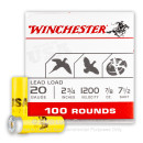 """Bulk 20 Gauge 2 3/4"""" #7.5 Heavy Game & Target Ammunition From Winchester USA - 100 Rounds"""