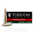 Premium 308 Ammo For Sale - 180 Grain MatchKing HP Ammunition in Stock by Fiocchi Extrema- 20 Rounds