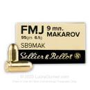 Bulk 9mm Makarov Ammo For Sale - 124 Grain FMJ - Sellier & Bellot Ammunition In Stock - 1000 Rounds