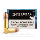 Cheap 22 LR Ammo For Sale - 40 gr Copper Plated Round Nose Ammunition by Federal Game-Shok In Stock - 50 Rounds
