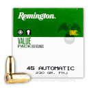 45 Auto Ammo For Sale - 230 gr MC Remington UMC Ammunition In Stock - 100 Round Value Pack