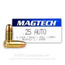 25 ACP - 50 gr FMJ - Magtech - 50 Rounds