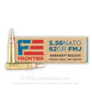 Cheap 5.56x45 Ammo For Sale - 62 Grain FMJ Ammunition by Hornady Frontier - 20 Rounds