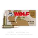 Bulk 6.5 Grendel Ammo For Sale - 100 gr FMJ Ammunition In Stock by Wolf - 500 Rounds