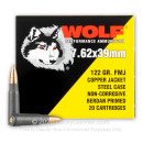Cheap 7.62x39 Ammo For Sale - 122 Grain FMJ Ammunition in Stock by Wolf Copper Jacket - 20 Rounds