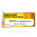 Premium 6mm Creedmoor Ammo For Sale - 103 Grain ELD-X Ammunition in Stock by Black Hills Gold - 20 Rounds