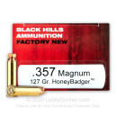 Premium 357 Mag Ammo For Sale - 127 Grain HoneyBadger Ammunition in Stock by Black Hills Ammunition - 50 Rounds