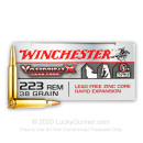 Premium 223 Rem Ammo For Sale - 38 Grain JHP Ammunition in Stock by Winchester Varmint X Lead Free - 20 Rounds