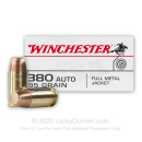 380 Auto Ammo In Stock - 95 gr FMJ - 380 ACP Ammunition by Winchester USA For Sale - 500 Rounds